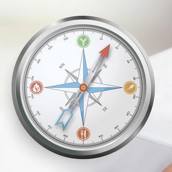 Kompass und eine Frau, die sich den Bauch hält