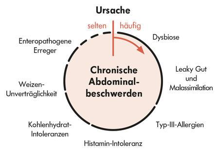 Kreis mit Chronische Abdominalbeschwerden und Indikationen