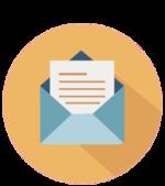Icon von geöffnetem Brief auf gelbem Grund