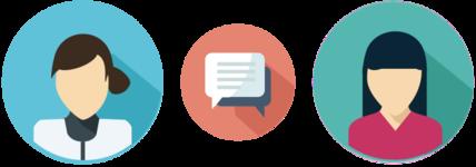 Icons von Apothekerin, Kundin und Sprechblase