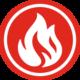 Icon mit weißer Flamme auf rotem Grund