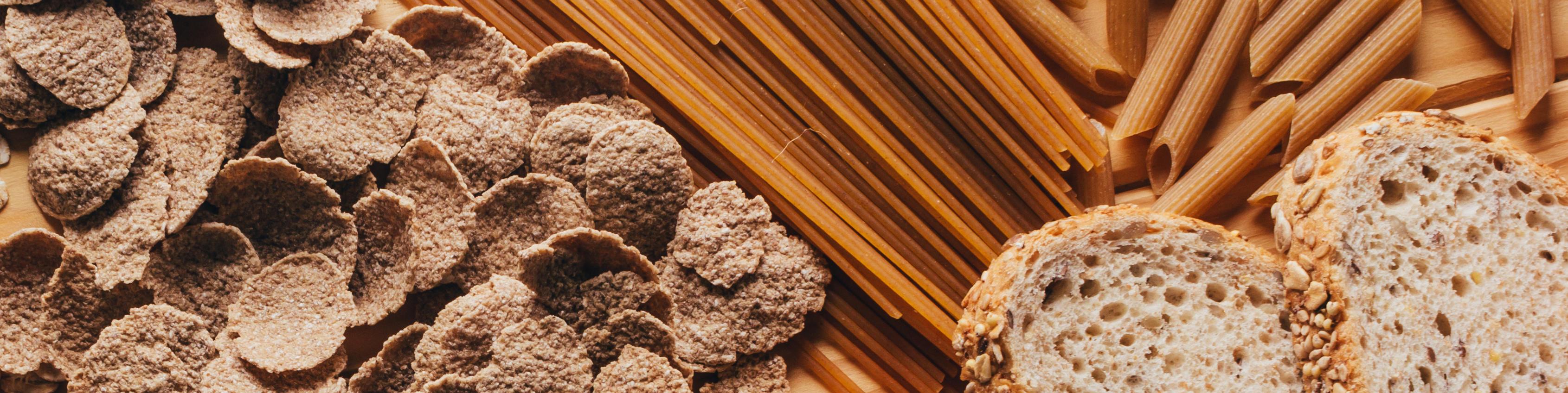 Vollkorn-Getreideprodukte: Brot, Nudeln, Cornflakes, Weizenflocken