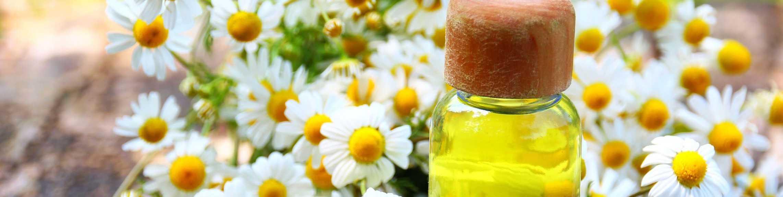 Kamillenblüten und Fläschchen mit ätherischem Öl