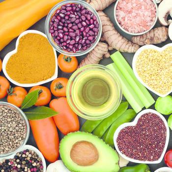 Obst, Gemüse, Nüsse, Samen
