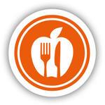 Icon mit Apfel und Besteck