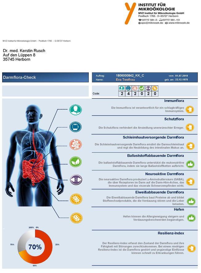 Darmflora-Check Bericht Seite 1
