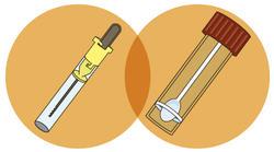 zwei verschiedene Roehrchen zur Entnahme von Stuhlproben