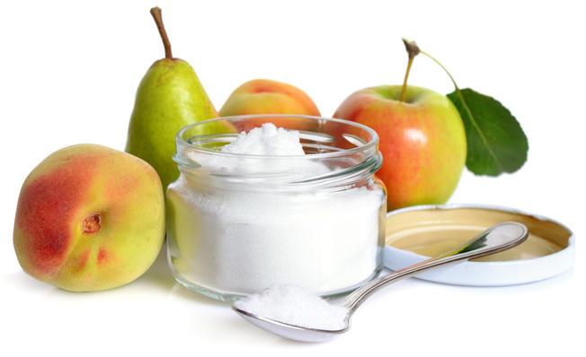 Apfel, Birne, Pfirsiche und Fruktose als Pulver