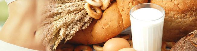 Bauch; Getreide, Brot Glas Milch und Eier