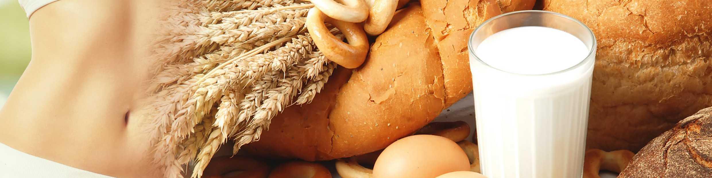 Bauch, weizenhaltige Lebensmittel und Milch